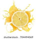 lemon with juice splash... | Shutterstock . vector #704494069