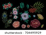 set of flowers. traditional... | Shutterstock .eps vector #704495929
