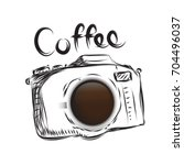 coffee camera business drawn... | Shutterstock .eps vector #704496037