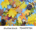 Fall Or Autumn Background Of...
