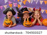 happy brother and two sisters... | Shutterstock . vector #704503327