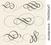 set of calligraphy flourish art ... | Shutterstock .eps vector #704504167