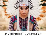 face of american indian woman ... | Shutterstock . vector #704506519
