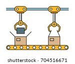 thin line style assembly line.... | Shutterstock .eps vector #704516671