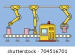 thin line style assembly line.... | Shutterstock .eps vector #704516701