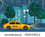 the yellow taxi rides to the... | Shutterstock .eps vector #704519011