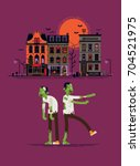 cool vector halloween design... | Shutterstock .eps vector #704521975