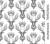 seamless pattern with deer... | Shutterstock .eps vector #704525641