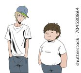 two friends are teenagers... | Shutterstock .eps vector #704530864