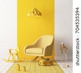 mock up of a children's bedroom ... | Shutterstock . vector #704535394