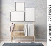 mockup poster in the children's ... | Shutterstock . vector #704540011