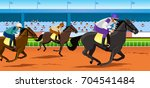 Stock vector horse race in racecourse 704541484