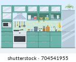 kitchen interior with furniture ... | Shutterstock .eps vector #704541955