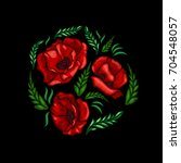 embroidery poppies flowers.... | Shutterstock .eps vector #704548057