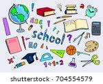 school doodle set. various... | Shutterstock .eps vector #704554579