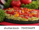 healthy vegetarian pizza  with...