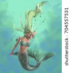 green mermaid 3d illustration   ... | Shutterstock . vector #704557531