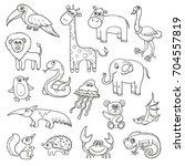 wild animals and birds cartoon...   Shutterstock .eps vector #704557819