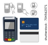 pos terminal. payment terminal... | Shutterstock .eps vector #704562571