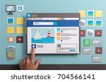social media post with comments ... | Shutterstock . vector #704566141