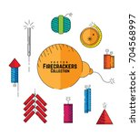 set of vector firecrackers... | Shutterstock .eps vector #704568997