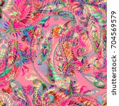 paisley pattern ethnic seamless ... | Shutterstock . vector #704569579
