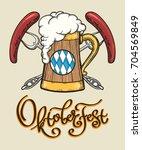 retro oktoberfest design.... | Shutterstock .eps vector #704569849