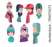 vector collection of knitted... | Shutterstock .eps vector #704574271