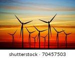 windmill on the sunset | Shutterstock . vector #70457503
