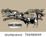 the village  a small ranch.... | Shutterstock .eps vector #704580049