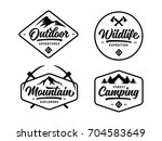Set of outdoor wild life related labels badges emblems and design elements for t-shirt, posters, prints. Vintage typography compositions. Vector illustration. | Shutterstock vector #704583649