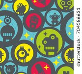 seamless pattern with round... | Shutterstock .eps vector #704586631