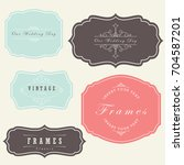vintage ornament labels set... | Shutterstock .eps vector #704587201