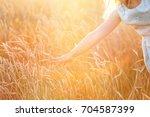 little girl kids hand touching... | Shutterstock . vector #704587399