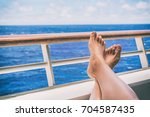 cruise vacation travel woman... | Shutterstock . vector #704587435