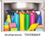 cleaning products placed in... | Shutterstock . vector #704588869