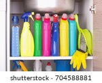 cleaning products placed in... | Shutterstock . vector #704588881