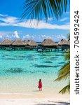 luxury beach travel vacation... | Shutterstock . vector #704592424