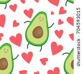 avocado heart pattern | Shutterstock .eps vector #704593015
