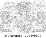 coloring page of japanese... | Shutterstock .eps vector #704595979