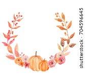 pumpkin watercolor fall flower... | Shutterstock . vector #704596645