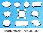 comic speech bubbles set with... | Shutterstock .eps vector #704603287