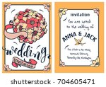 wedding invitation card... | Shutterstock .eps vector #704605471