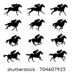 Stock vector horse rider run cycle silhouette 704607925