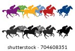 Stock vector racing horses silhouettes 704608351