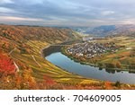 valley of the moselle river... | Shutterstock . vector #704609005
