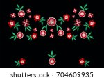 embroidery ethnic flowers neck... | Shutterstock .eps vector #704609935