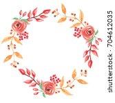 watercolor autumn fall flower... | Shutterstock . vector #704612035