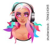 cute girl in headphones listen... | Shutterstock .eps vector #704614345