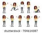 presentation set of a woman in... | Shutterstock .eps vector #704614387